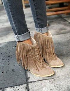 fringe boots by Kelbelle