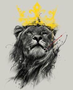 Эскиз тату – лев с короной