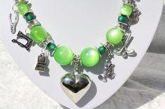 Charm- & Bettelketten - Kette grün Herz Schmuck silber Polaris Wolle - ein Designerstück von trixies-zauberhafte-Welten bei DaWanda