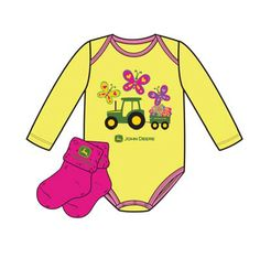 Yellow and Pink John Deere Infant Girl Onesie and Sock Set – GreenToys4u.com