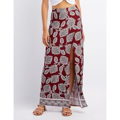 Charlotte Russe Floral Wrap Slit Maxi Skirt ($16) ❤ liked on Polyvore featuring skirts, ruby wine, long skirts, long ankle length skirts, floral maxi skirt, floral skirt and long floral skirts