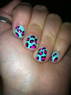 pink and blue leopard print nails by me!