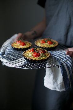 glutenfree goatcheese quiche with cherry tomatoes