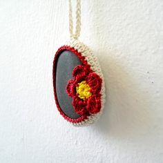 Crochet Stone Necklace - Red Flower Necklace - Crochet Stone Jewelry - Beach Stone Flower Necklace - Beach Wedding Necklace - Stone Pendant via Etsy