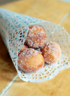 Coffee station idea as guests arrive-- donut holes- they would go with the brunch food!