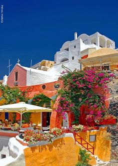 Colorful Cafe in Oia on Santorini island, Greece