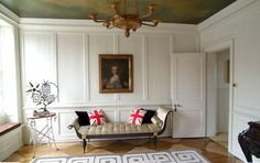 panelled room with union jack cushions
