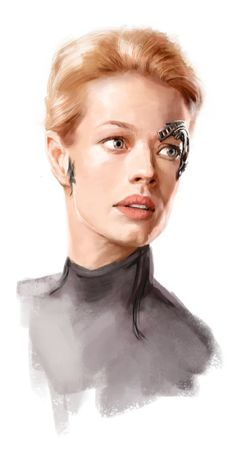 A Portrait of Jeri Ryan a cast member on the series Star Trek Voyager.