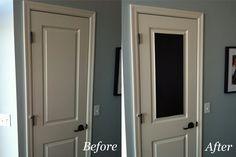 Easy Chalkboard Door.. This is cute for the pantry door