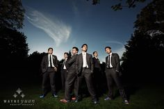 fun dark gray suit look for groom & groomsmen