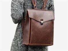 Vegan Shoes & Bags: Chiba Vintage Backpack by Tokyo Bags in Dark Brown