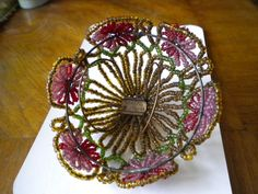 Vintage Beaded small Lamp Shade from eliterepeat on Ruby Lane