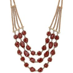 Lucky Brand Faux Carnelian Collar Necklace ($49) ❤ liked on Polyvore featuring jewelry, necklaces, maroon, artificial jewellery, artificial jewelry, lucky brand necklace, fake jewelry and imitation jewellery