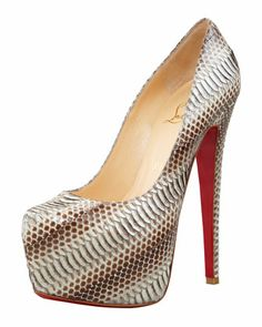 Daffodile+Snakeskin+Red+Sole+Platform+Pump,+Stone+by+Christian+Louboutin+at+Bergdorf+Goodman.