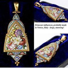 """Superb Antique 18k Gold Micromosaic Pendant, Reliquary, 3"""" long."""