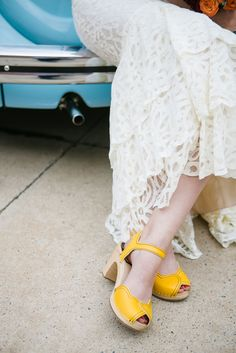 Modern Bohemian Wedding at The Flaming Lips Art Gallery: Bryan & Brittany Clogs, Hippie Stil, Yellow Lace Dresses, Lace Dress Styles, Art Gallery Wedding, Boho Wedding Decorations, Lip Art, Modern Bohemian, Mellow Yellow