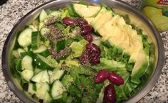 Salad idea - Romaine lettuce, avocado, cucumber, Kalamata olives, chia seeds, lemon juice, sea salt. Add olive oil if not avocado.