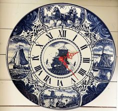 #Vintage #Delft #Kitchen Large #Clock Photo by French Vintage Treasures https://www.flickr.com/people/frenchvintagetreasures/