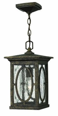 Hinkley 1492AM-DS Randolph - One Light Outdoor Hanging Lantern, Autumn Finish with Clear Seedy/Etched Seedy Glass by Hinkley. $167.07