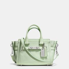 New Coach 35798 Swagger 20 Carryall in Pebble Leather in mint crossbody bag #Coach #ShoulderBag