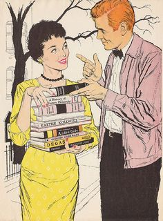 Studying the Books of Love ~  Gerald Lazare, 1957