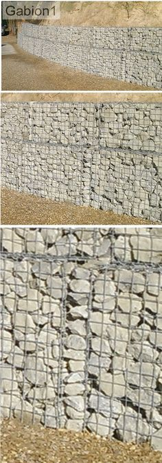 detail showing the gap created when building a curved gabion wall has been filled with stacked rocks, simple solution http://www.gabion1.com