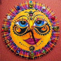 This sun's eyes capture the viewer. Would like to be more bright but close. Sun Moon Stars, Sun And Stars, Good Morning Sunshine, Sunday Morning, Sun Painting, Sun Designs, Sun Art, Hippie Art, Moon Design