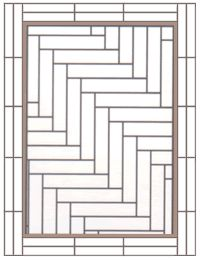 This pattern would look nice in the kitchen. Diagonal herringbone with a feature stripe and double block border.