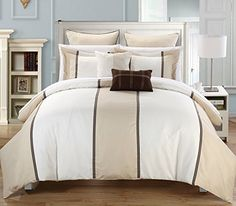 Etien 7-piece Comforter Set, King Size, Beige, Shams and Decorative Pillows Included