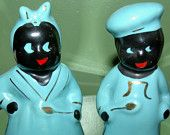Americana Black Aunt Jemima and Uncle Moses Ceramic Salt and Pepper Shakers