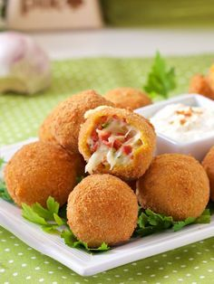 Fried Dumplings with Cheese 'n Sausage Filling (Croatian Recipe) Torta Recipe, Serbian Recipes, Serbian Food, Breakfast Recipes, Dessert Recipes, Fast Easy Meals, Snacks Für Party, Best Food Ever, Food Inspiration