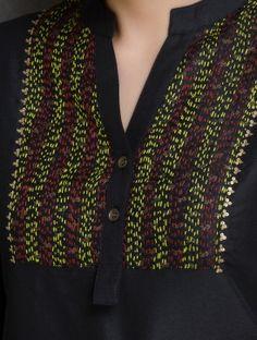 Black Kantha Embroidered Yoke & Sequin Detailed Cotton-Silk Kurta by Firroza Phulkari Embroidery, Embroidery On Kurtis, Hand Embroidery Dress, Embroidered Kurti, Kurti Embroidery Design, Embroidery Neck Designs, Embroidery Stitches, Neckline Designs, Dress Neck Designs
