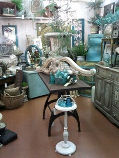 Turquoise and Grey/Beige are favorites in The White Barn. (booth in the Feathered Nest Market in Oklahoma City)