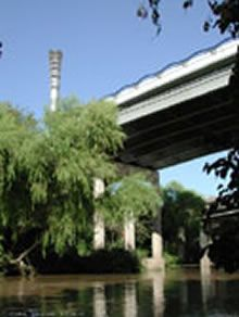 At Allen's Landing, the historical birthplace of Houston, White Oak Bayou meets Buffalo Bayou. From Allen's Landing east, Buffalo Bayou becomes much wider and deeper. The Bayou flows through the East End of Houston to the Turning Basin and the Ship Channel.