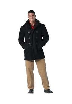 Ultra Force Mens Black Wool Navy Duffle Coat | Buy Now at camouflage.ca