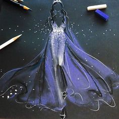 SnapWidget | Starry night  @zuhairmuradofficial couture  _________  illustrated with @royalbrushart soft pastels, @prisma_color color pencils & silver metallic @sharpie on @strathmoreart Artagain coal black paper