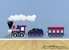 Personalized Train Wall Decal - Locomotive & Name Wall Decal for ...