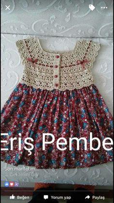 Crochet and fabric very nice doll Häkeln und Stoff sehr schönes Puppenkleid Crochet and fabric very nice doll dress - Crochet Dress Girl, Crochet Summer Dresses, Crochet Baby Cardigan, Baby Girl Crochet, Crochet Baby Booties, Crochet Clothes, Boy Crochet Patterns, Crochet Yoke, Baby Patterns