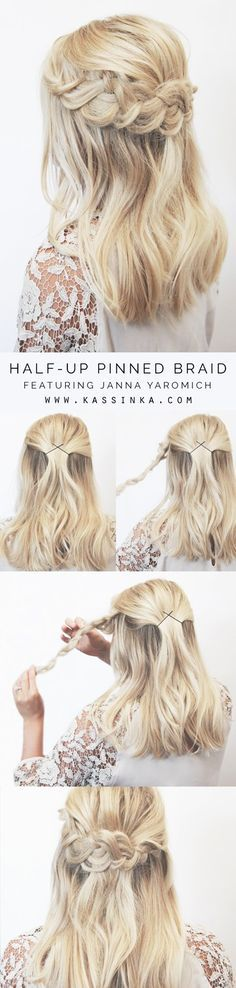 Half-up Pinned Braid Hair Tutorial For Shorter Hair
