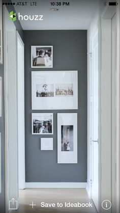Photo wall--charcoal gray, white frames
