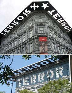shadow exterior signage designed for the House of Terror Museum in Budapest by A+Z Designs, is to remember the victims. I love the sign /message / art. Environmental Graphic Design, Environmental Graphics, Wayfinding Signage, Signage Design, Architectural Signage, Tiny House, Building Signs, Exterior Signage, Outdoor Signage