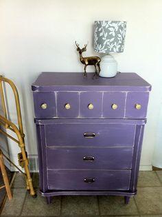 vintage dresser distressed purple refinished crystal knobs •Bambi Deer