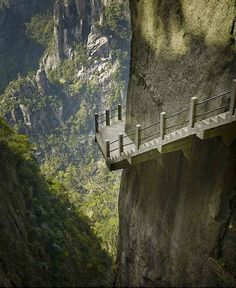 Cliffside steps, Hunan, China Walking on those stairs...I mean frozen against the wall!