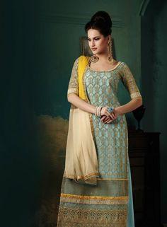 Turquoise plazzo style latest Pakistani suit in chiffon B15226