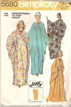 1973 Simplicity Pattern 5680 Ladies Caftan by Acozylittlestore, $9.00