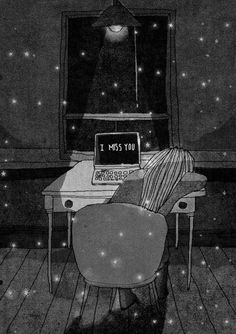 Behind Blue Eyes, Long Distance Love, I Miss You Quotes For Him Distance, Tu Me Manques, Arte Sketchbook, I Missed, Illustration Art, Tumblr, Animation