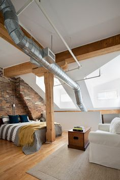 Industrial Stairs Loft industrial apartment new york. Industrial Bedroom Design, Industrial Apartment, Industrial House, Industrial Interiors, Industrial Decorating, Urban Industrial, Industrial Furniture, Industrial Style, Industrial Farmhouse