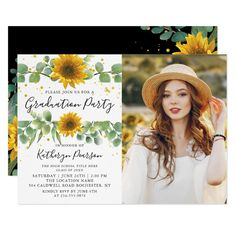 Greenery Sunflowers Graduation Party Photo Invitation - tap to personalize and get yours #Invitation  #graduation #graduate #graduation #party #grad Graduation Party Themes, Graduation Party Invitations, Grad Parties, Graduation Quotes, Graduation Caps, Grad Cap, College Graduation, Graduation Ideas, Photo Invitations