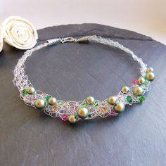 Swarovski green and pink pearl and crystal wire crochet necklace by FayeValentineJewelry