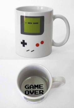 """Drink Coffee In Style!! Novelty Mugs By Funny Guy Mugs!! Printed and Tested In the USA!! The Gameboy coffee mug is the ultimate cup for old school gamers. Designed by college student Tiago Goncalves to look like a retro Gameboy, this genius coffee mug will display a """"Game Over"""" message when you've finished your morning cup of coffee. Hmmm. That game was easy. Let's move up to level """"Irish""""."""